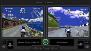 Sega Manx TT Superbike (Arcade vs Sega Saturn) Side by Side Comparison