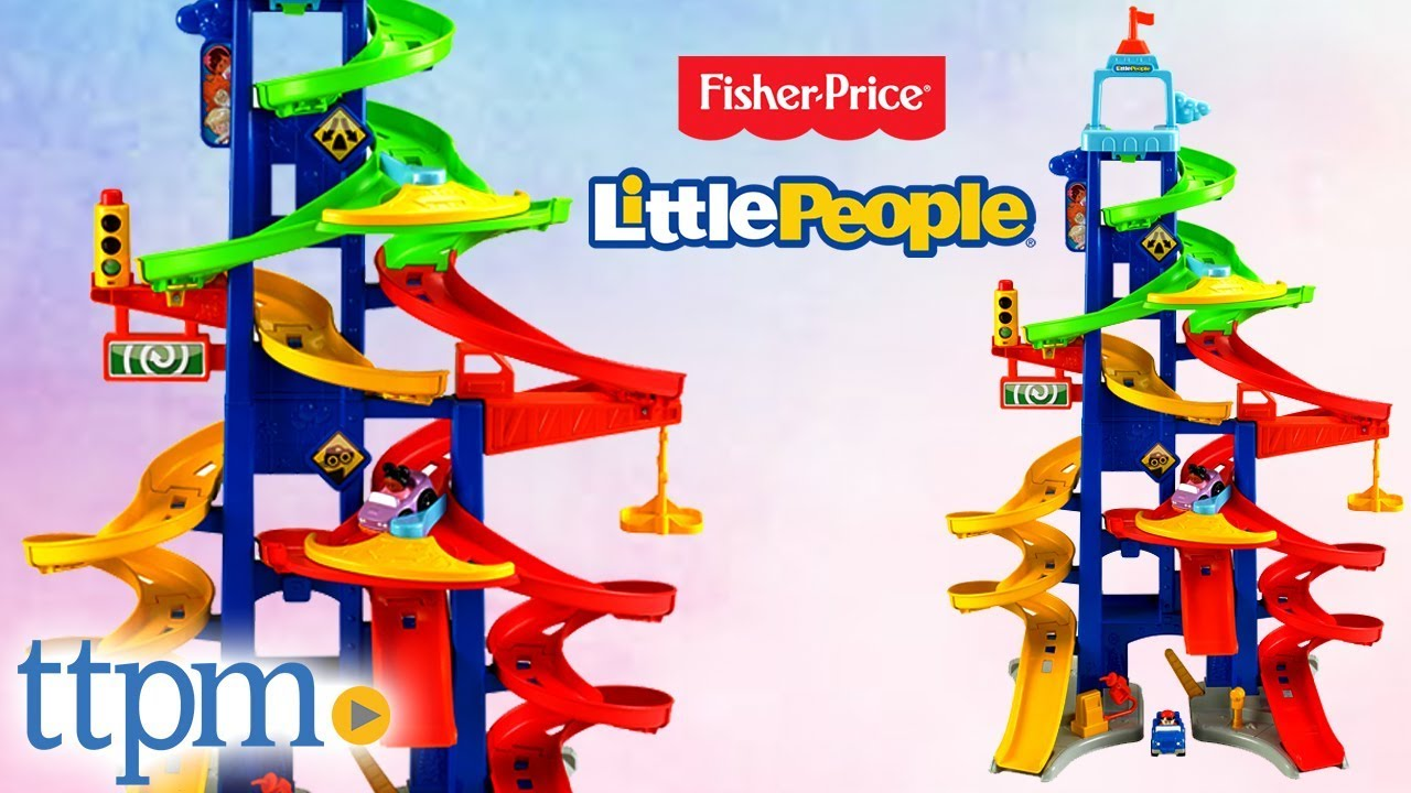 Little People Wheelies City Skyway Car Race Tracks Review Fisher Price Toys Youtube
