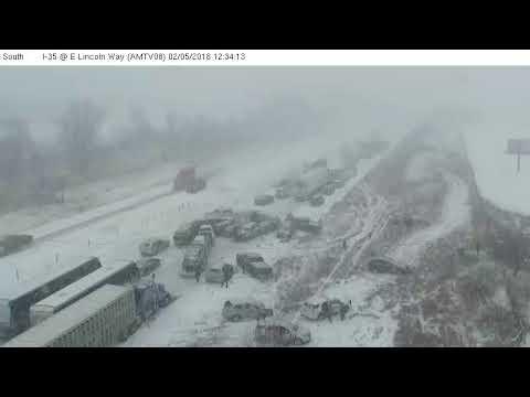 Iowa DOT I-35 Crash Raw Footage 02/05/2018