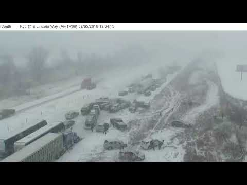 Iowa DOT I-35 Crash Raw Footage 02/05/2018