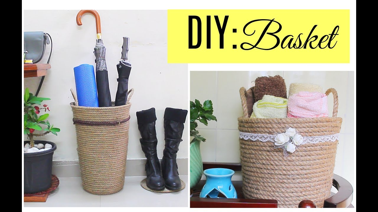 Diy Basket For Home Decor Storage Baskets For Bathroom And Outdoor Accessories Youtube