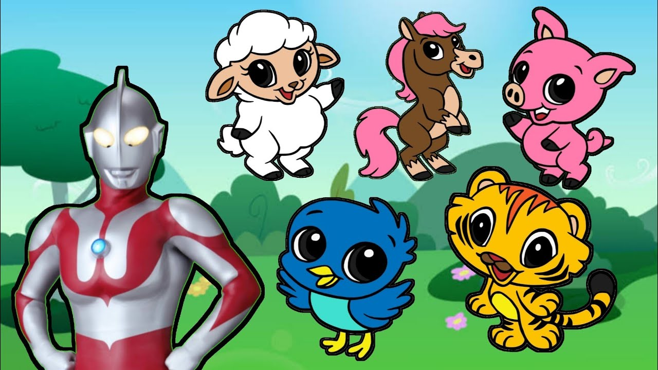 Mewarnai Gambar Hewan Bersama Ultraman   Domba, Kuda, Burung, Harimau & Babi