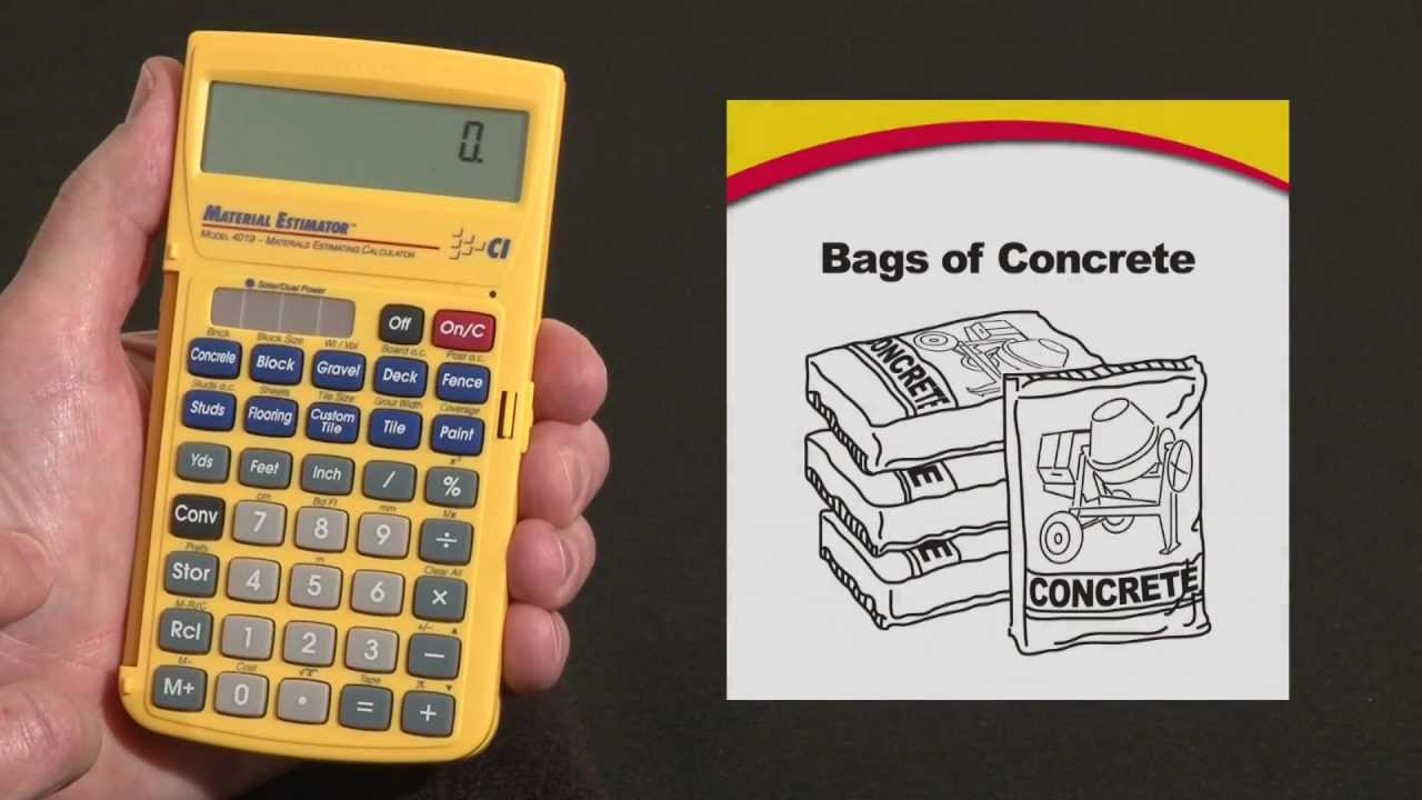 Material Estimator Bags Of Concrete And Volume How To