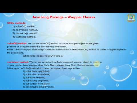 Lesson - 6 : java.lang Package - Wrapper Classes in Java Programming Language
