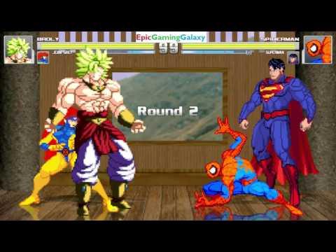 Superman And Spider-Man VS  Broly The Legendary Super Saiyan U0026 Jean Grey In A MUGEN Match / Battle