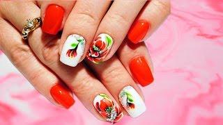Маки со стразами Цветок Топ удивительный весенний дизайн ногтей Красивый и простой Nail art design