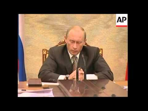 Putin meeting cabinet and commenting on oil crisis