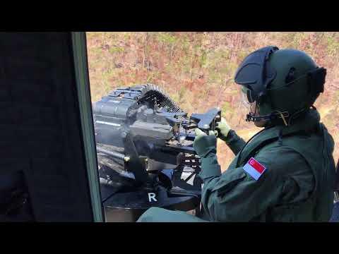 Live-firing on board an RSAF Super Puma