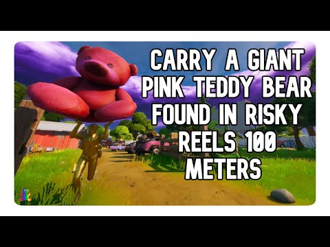 Carry A Giant Pink Teddy Bear Found In Risky Reels 100 Meters Location Guide - Fortnite (Midas)