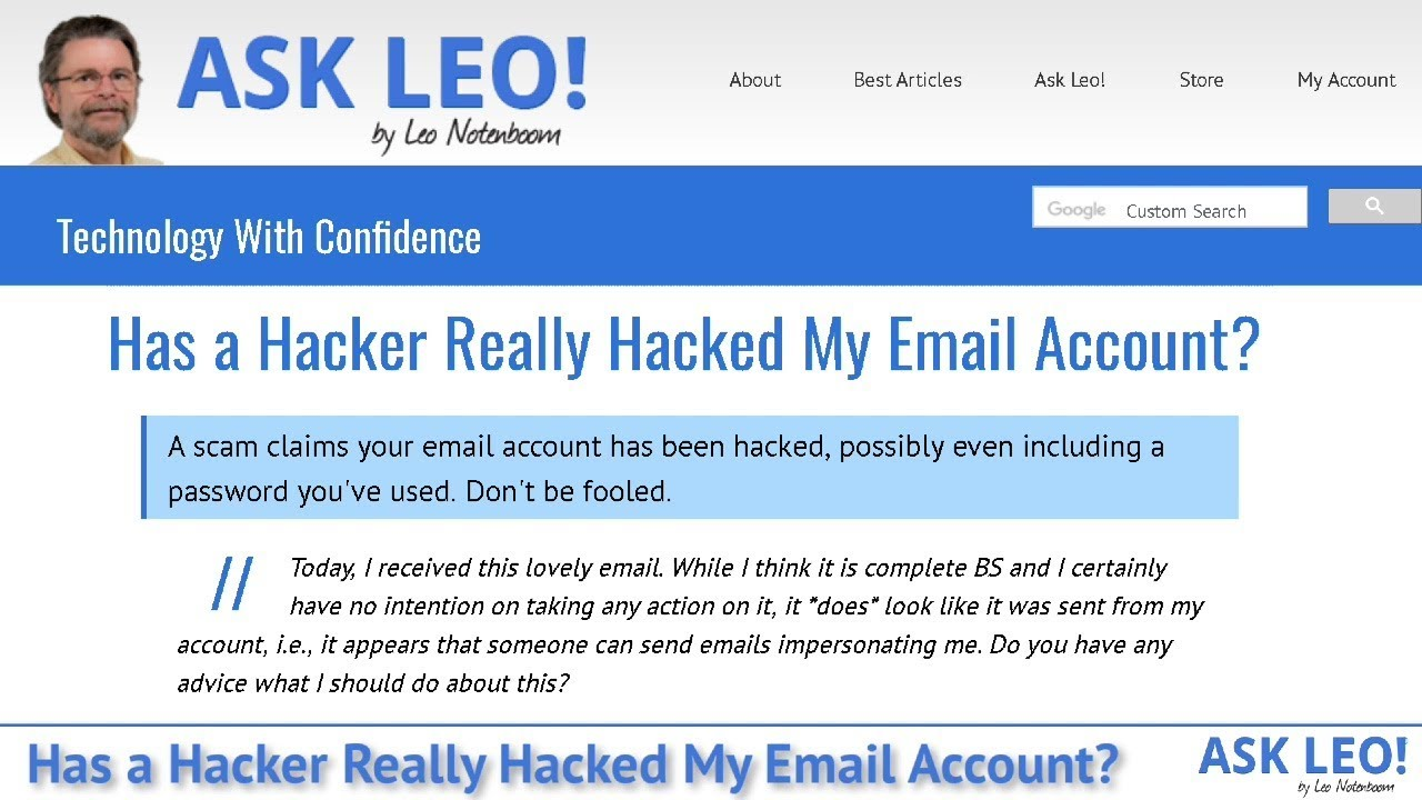 Has a Hacker Really Hacked My Email Account? - Ask Leo!