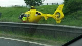 Big car accident helicopter on motorway M62 mercedes, vauxhall insignia, BMW