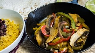 Vegan Portobello Mushroom Fajitas - No Salt, No Oil, High Carb, Low Fat - Hclf