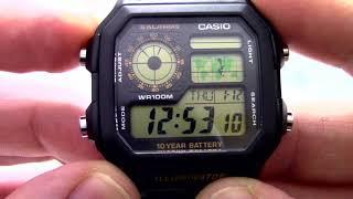 Годинник Casio Illuminator AE-1200WH-1B Інструкція, як налаштувати від PresidentWatches.Ru