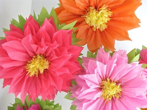 How To Make Big Giant Tissue Paper Flowers Tutorail 2016 Youtube