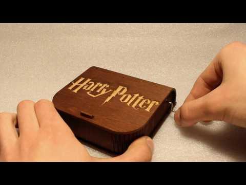 "Harry Potter ""Harry's Wondrous World"" Engraved Wooden Music Box - Hand Crank Movement"