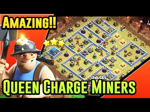 AMAZING!! QUEEN CHARGE MINERS ATTACK STRATEGY AT TH12 - EASY 3-STAR ( Clash Of Clans)