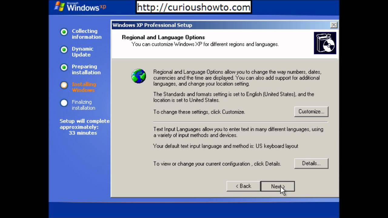 How to install windows xp sp2 on the computer.
