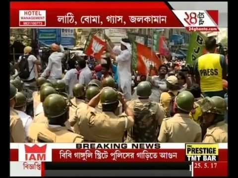 Hundreds Of Cadres Of BJP Fought Pitched Battles With Kolkata Police