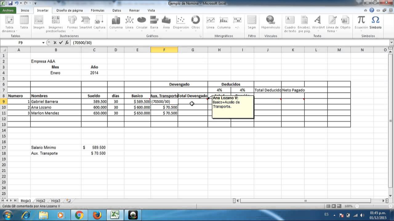 Formulaci n de nomina en excel youtube for Nomina de trabajadores en excel