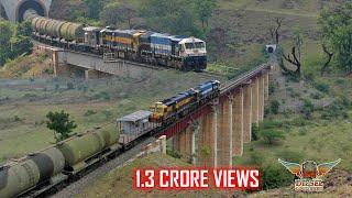 NOTCHED UP EMD MULTIPLE UNIT Crosses BRIDGES and TUNNELS | BTPN Tankers | Indian Railways