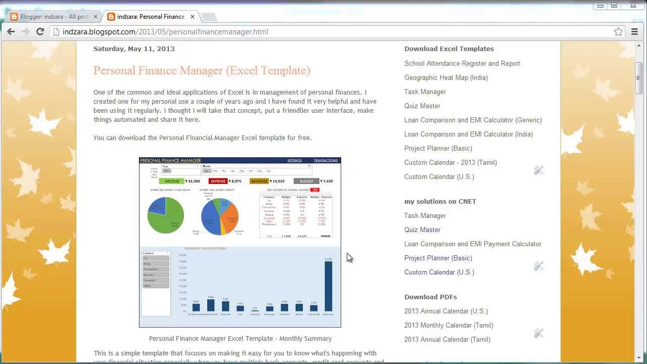 Personal Finance Manager (Excel template) - YouTube