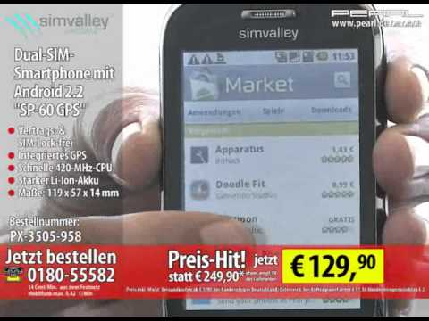 """simvalley MOBILE Dual-SIM-Smartphone mit Android 2.2 """"SP-60 GPS"""""""