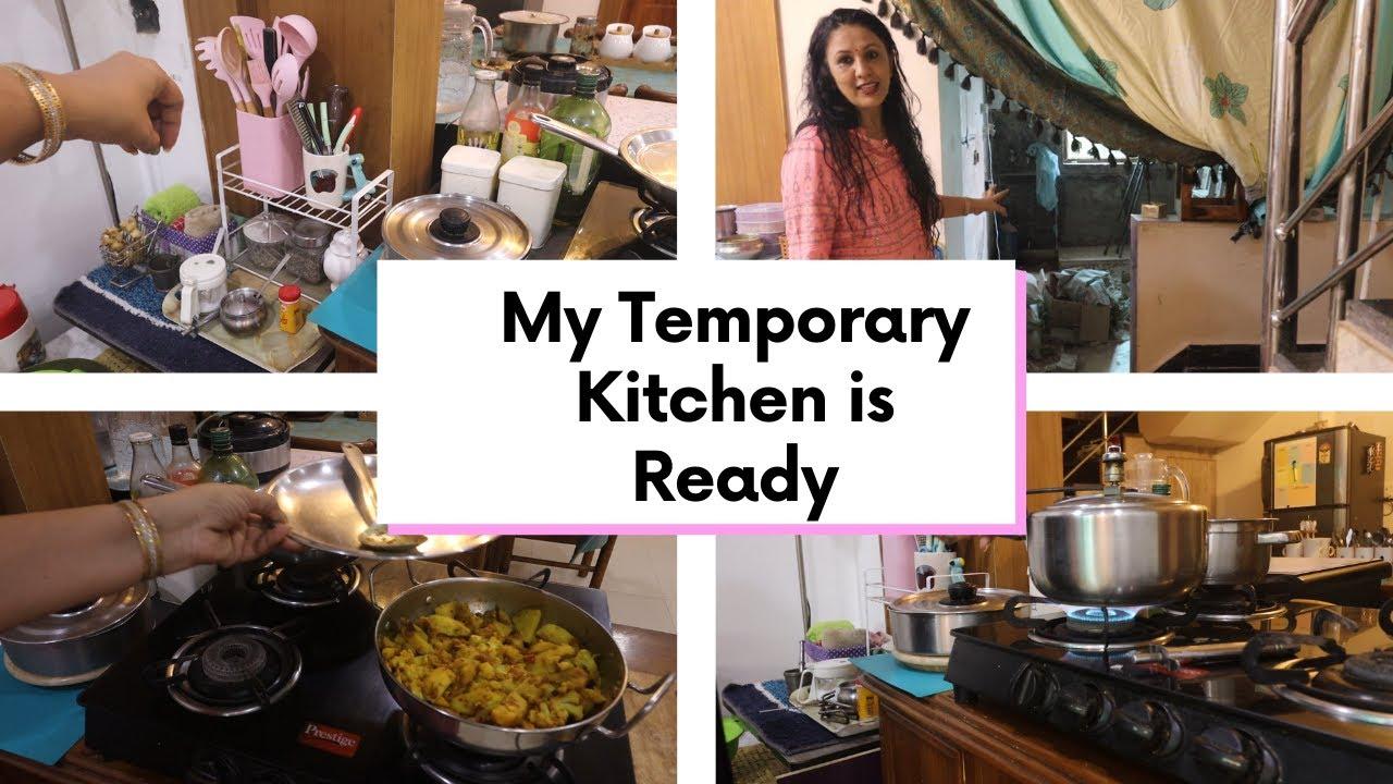 Temporary Kitchen Tyaar ho gayi || मेरी टेम्परेरी किचन तैयार हो गयी  || Kitchen Renovation