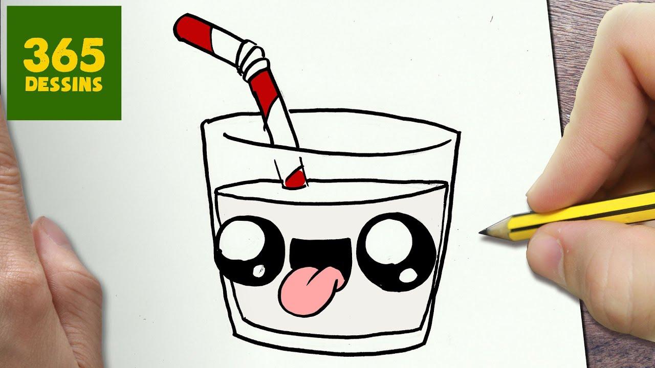 comment dessiner verre de lait kawaii tape par tape