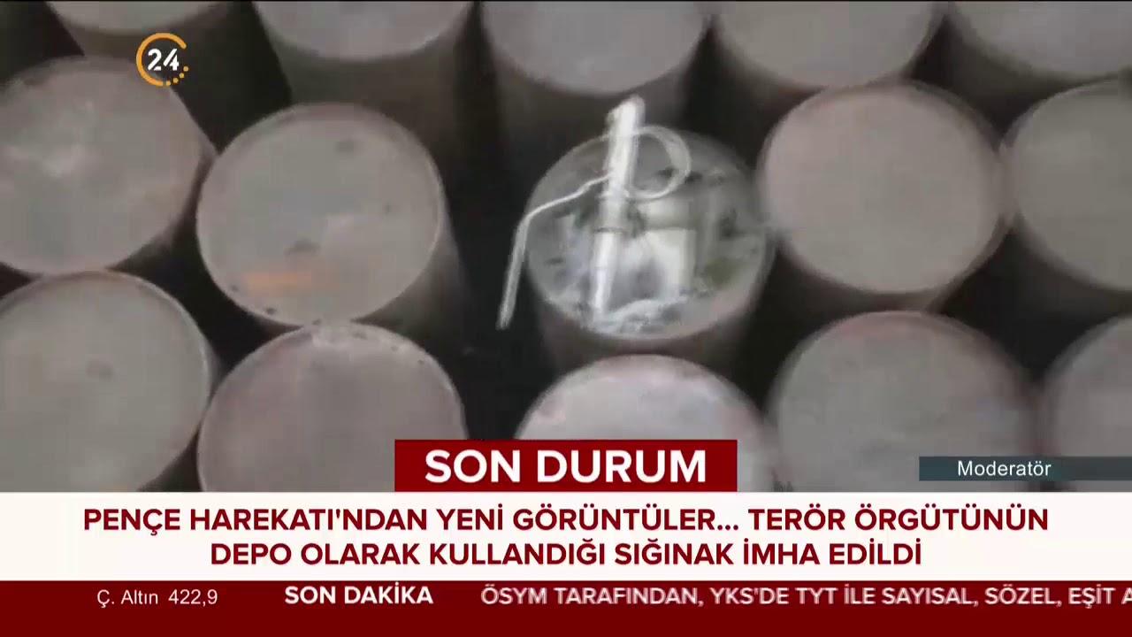 Pençe harekatından yeni görüntüler İşte terör örgütü PKK depoları