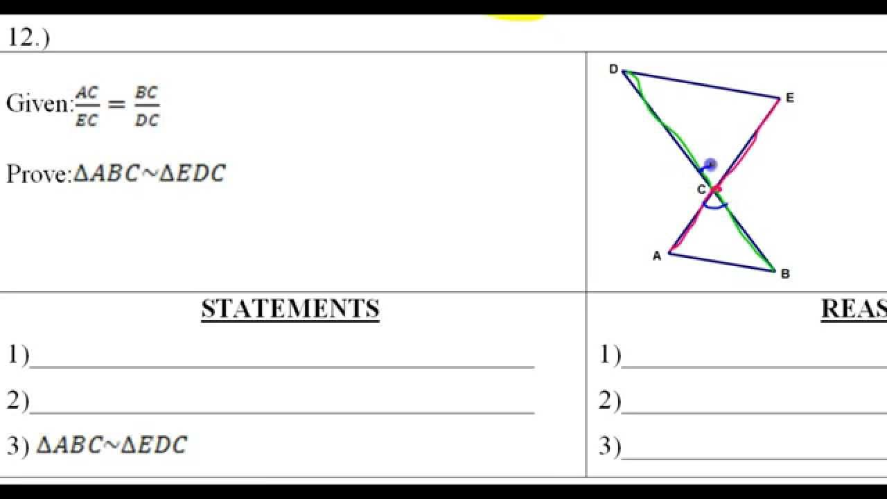 Day 6 HW 10 to 12 Similar Triangle Word Problems and Proofs – Triangle Proofs Worksheet