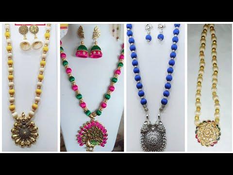 Silk thread necklace ||silk thread maala ||silk thread jewelery||kids beads chains ||దండ మాల ||