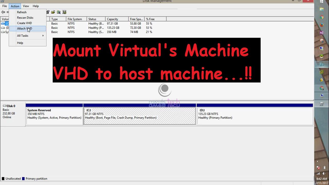 Mount Hyper-v VM's vhd to Host Machine as Local Disk