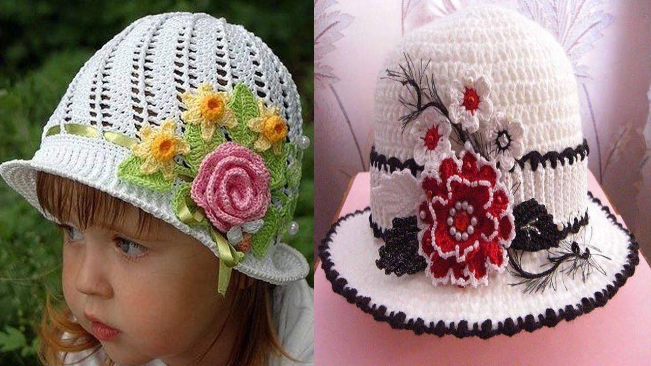 Sombreros tejidos en crochet diseños - YouTube
