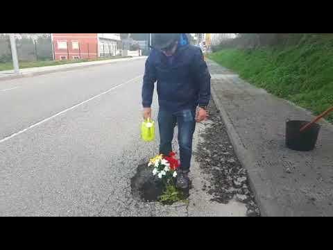 Plantan flores en baches de Burela para denunciar el mal estado del firme