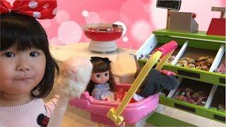 レミンちゃんソランちゃんとわたあめ屋さんにお買いもの お店屋さんごっこ Pretend Play Cotton Candy Shop