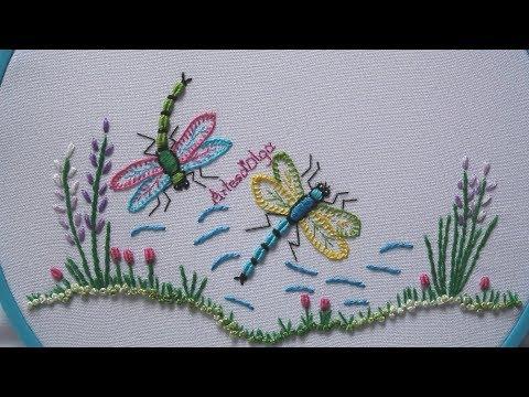 Hand Embroidery:Dragonfly  Libélula Bordada a Mano  ArtesdOlga