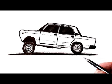 Как нарисовать машину ВАЗ 2107 сбоку | Ахадов Эльнур
