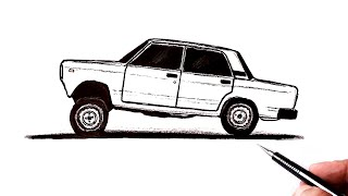 How to draw a VAZ 2107 car side view  Ehedov Elnur