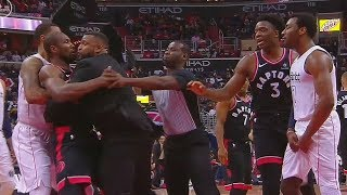 John Wall and Serge Ibaka Scuffle After Exchanging Words! Raptors vs Wizards