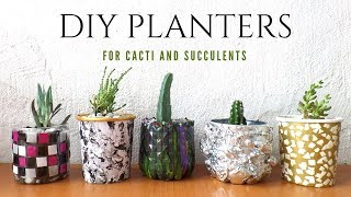 🌵 Five Planter / Plant Pot Ideas using Recycled Materials | Planters for Cacti and Succulents