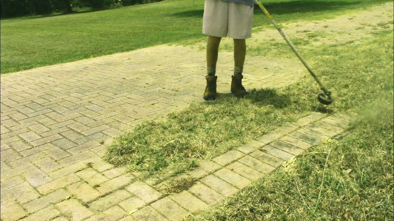 Trimming grass and weeds off a big brick driveway - Satisfying!!