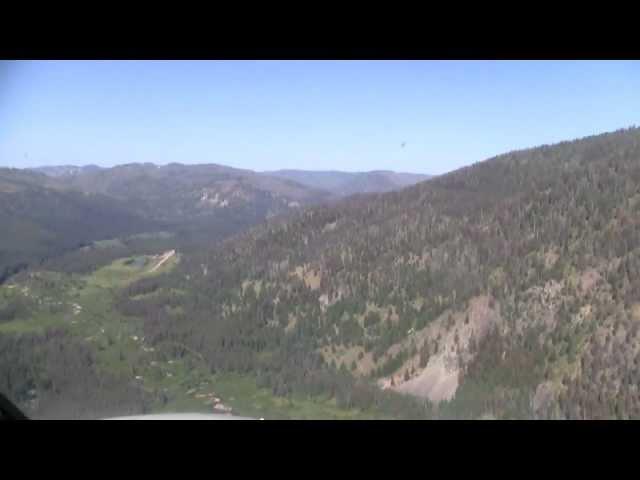 Cockpit view landing at Sulphur creek ranch in Idaho