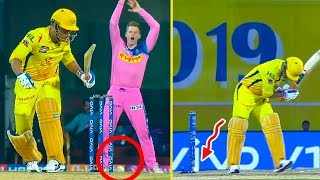 MS Dhoni Survives Even After Ball Hits Stumps : CSK Vs RR Highlights   IPL 2019