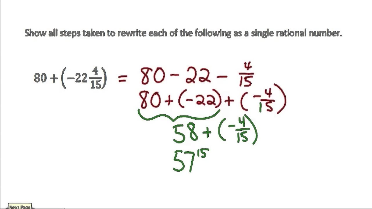 small resolution of Applying the Properties of Operations to Add and Subtract Rational Numbers  (solutions