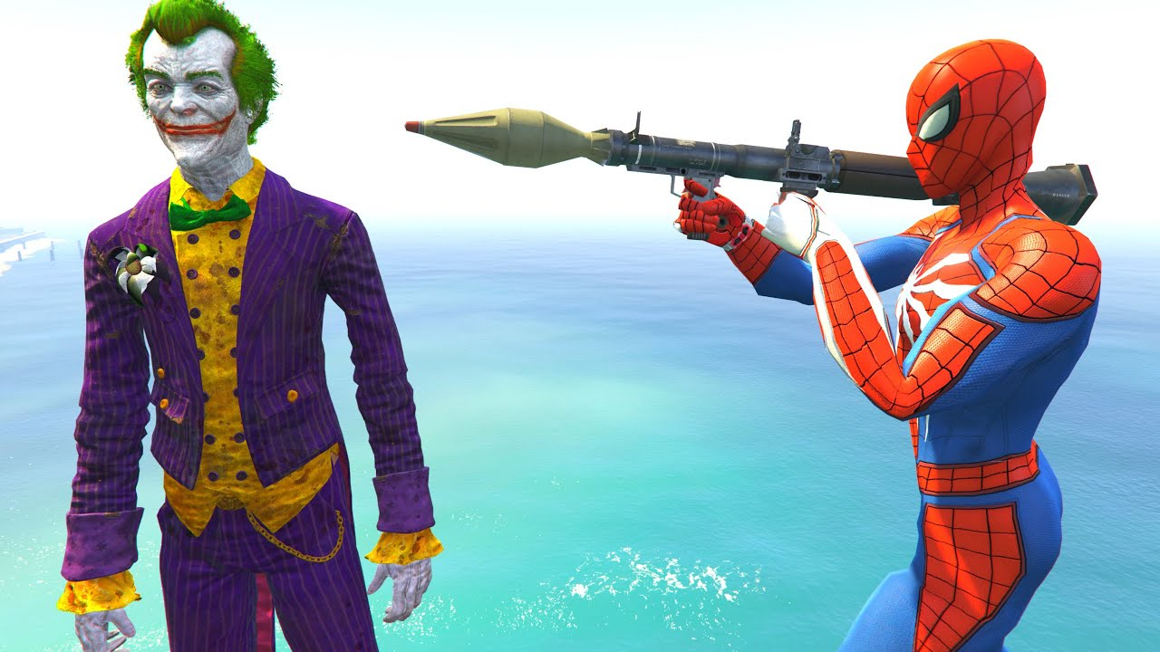 GTA 5 Water Ragdolls - SPIDERMAN VS JOKER (Euphoria Physics, Fails)