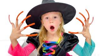 Cadılar Bayramı için Nastya ve sihirli şekerler