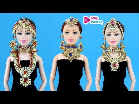 Barbie doll miniature necklace jewellery making, barbie doll jewellery, DIY Barbie Hacks and crafts