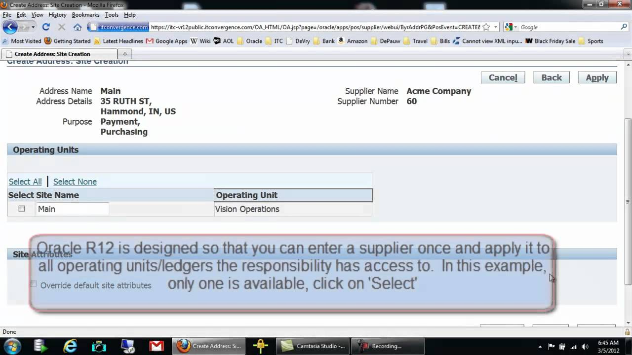 Oracle Payables: How to Create a Supplier - Oracle R12 Financial New  Features