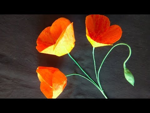 How To Make Pretty POPPY FLOWERs With Color Tissue Paper   Diy Flower Crafts
