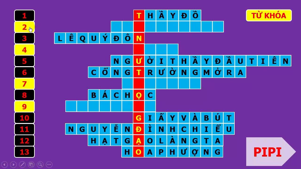 Trò chơi giải ô chữ về ngày Nhà giáo Việt Nam 20 - 11 bằng PowerPoint | TRỢ GIẢNG